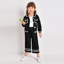 Toddler Girls Striped Flap Pocket Jacket & Pants