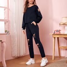 Cut Out Tee & Drawstring Waist Ripped Sweatpants