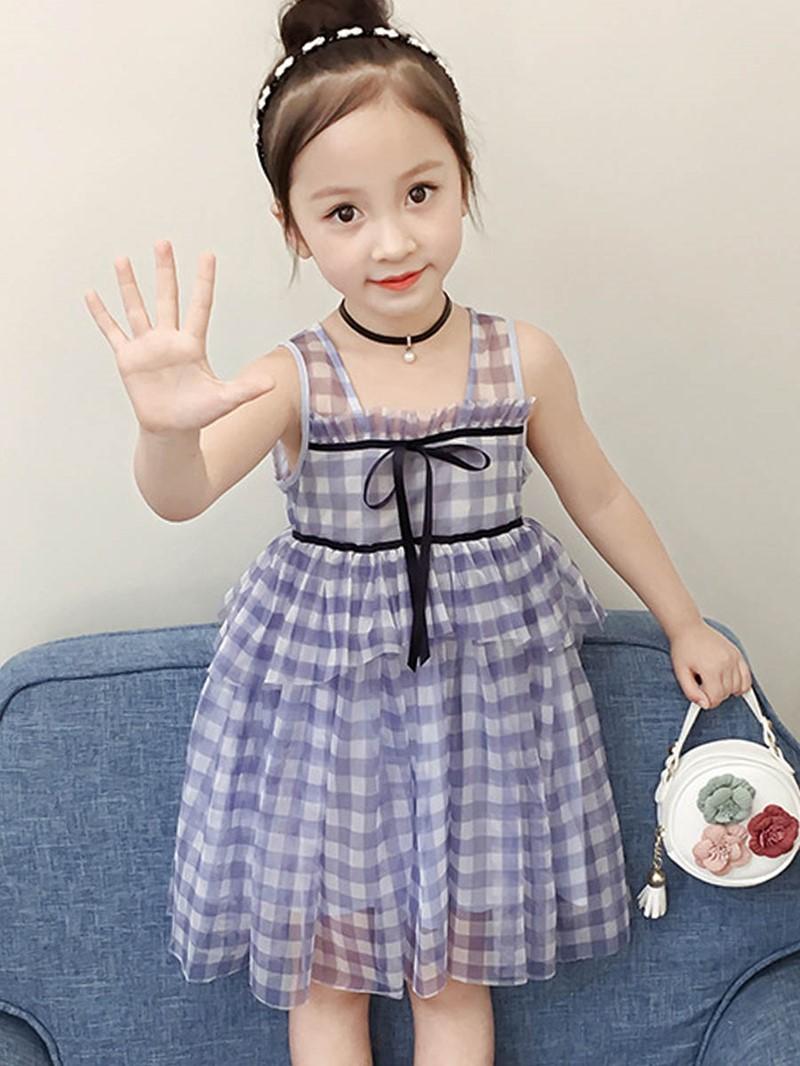 Ericdress Plaid A-Line Bowknot Sleeveless Girl's Princess Dress