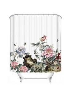 Alive Fabulous Butterfly Peony Print Shower Curtain