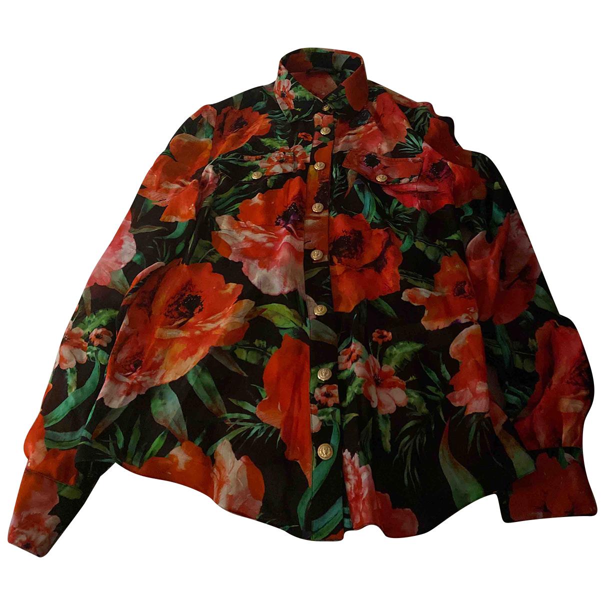Balmain - Top   pour femme en soie - rouge