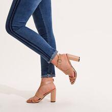 Open Toe Ankle Strap Chunky Heels