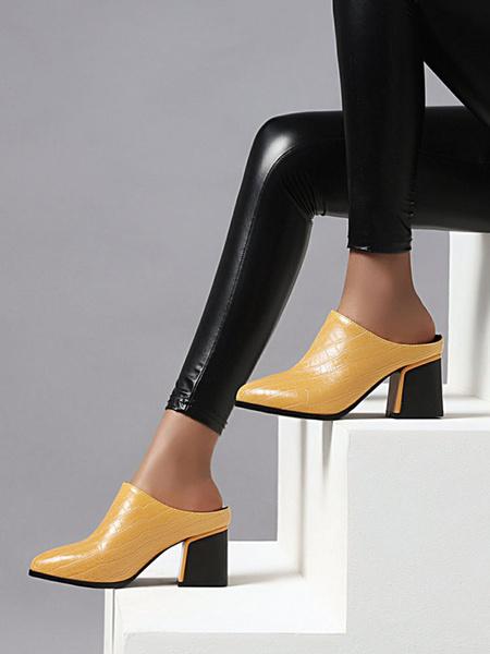 Milanoo Zapatos de tacon acampanado con punta puntiaguda con estampado de cocodrilo para mujer