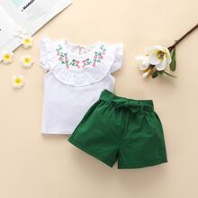 Baby Girl Ruffle Trim Embroidery Top & Belted Shorts