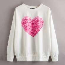 Heart Print Drop Shoulder Oversized Sweatshirt