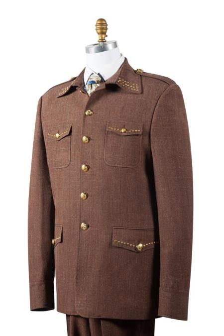 Mens Naval Style High Collar Brass Point Collar Zoot Suit Coffee