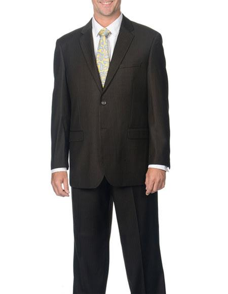 Caravelli Men's 2 Button Brown Pinstripe Notch Lapel Double Vent Suit