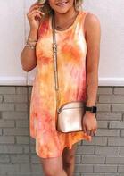 Tie Dye Mini Dress without Necklace