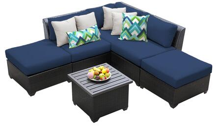 Barbados BARBADOS-06f-NAVY 6-Piece Wicker Patio Set 06f with 1 Corner Chair  2 Armless Chairs  2 Ottomans and 1 End Table - Wheat and Navy