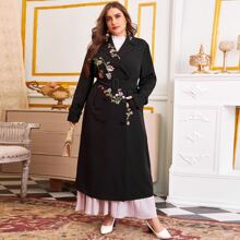 Plus Double Breasted Strap Cuff Floral Embroidered Belted Coat