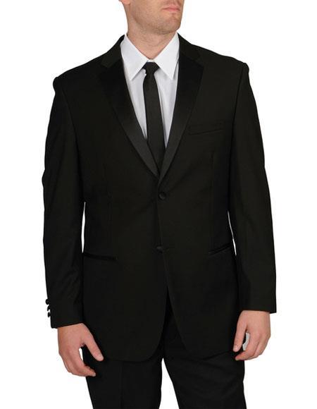 Caravelli Men's Slim Fit 2 Button Tuxedo Black Notch Lapel Suit