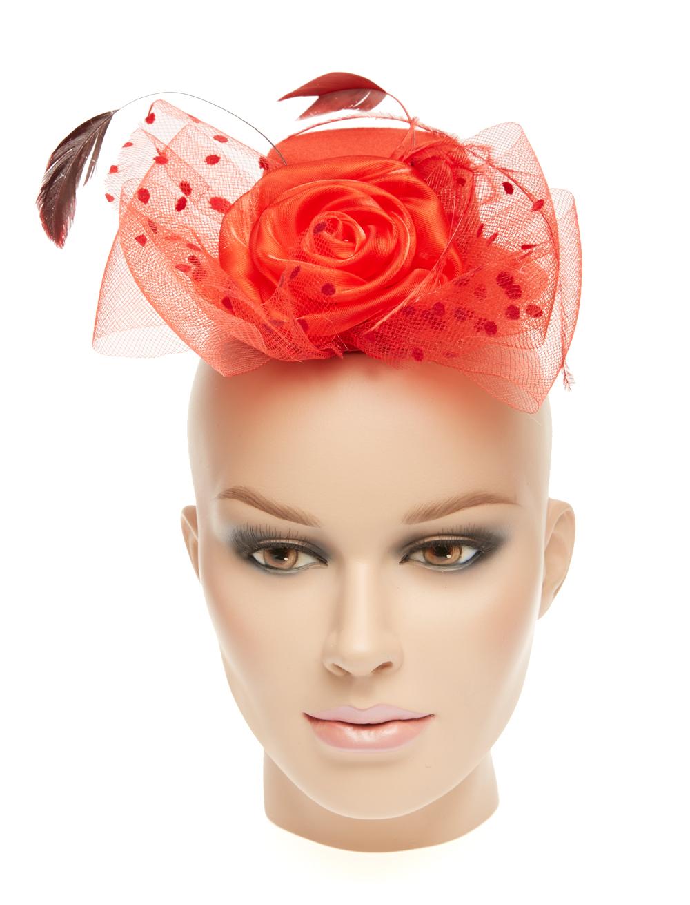 Kostuemzubehor Mini Hut mit Tuell & Rosen rot