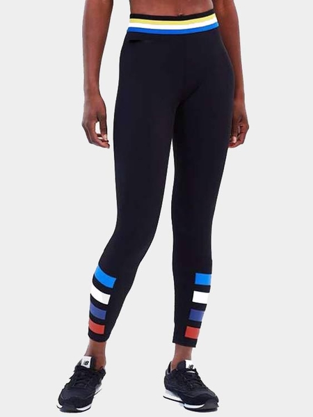 Yoins Active Comfy Contrast Color Stripe Quick Drying High Waist Leggings in Black