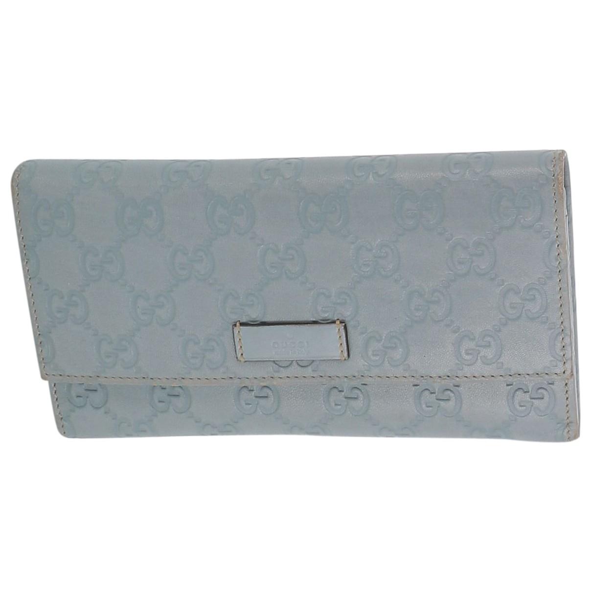 Gucci - Portefeuille   pour femme en cuir - bleu