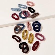 10pcs Random Color Solid Hair Tie