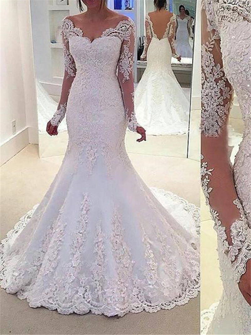 Ericdress Mermaid Appliques Long Sleeve Wedding Dress