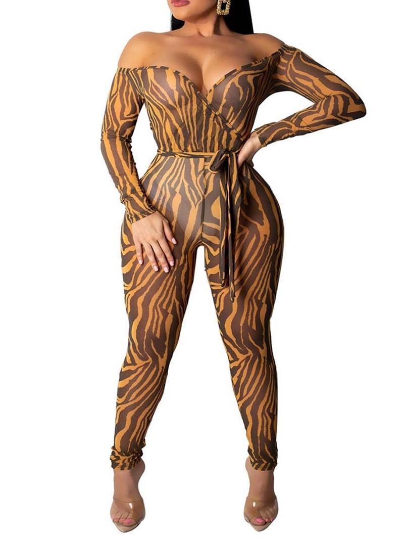 Ericdress Leopard Print Sexy Skinny Off-Shoulder High Waist Jumpsuit