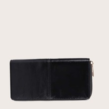 Men Minimalist Zipper Around Long Purse