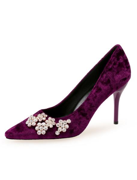 Milanoo Velvet High Heels Pointed Toe Rhinestones Stiletto Heel Pumps For Women