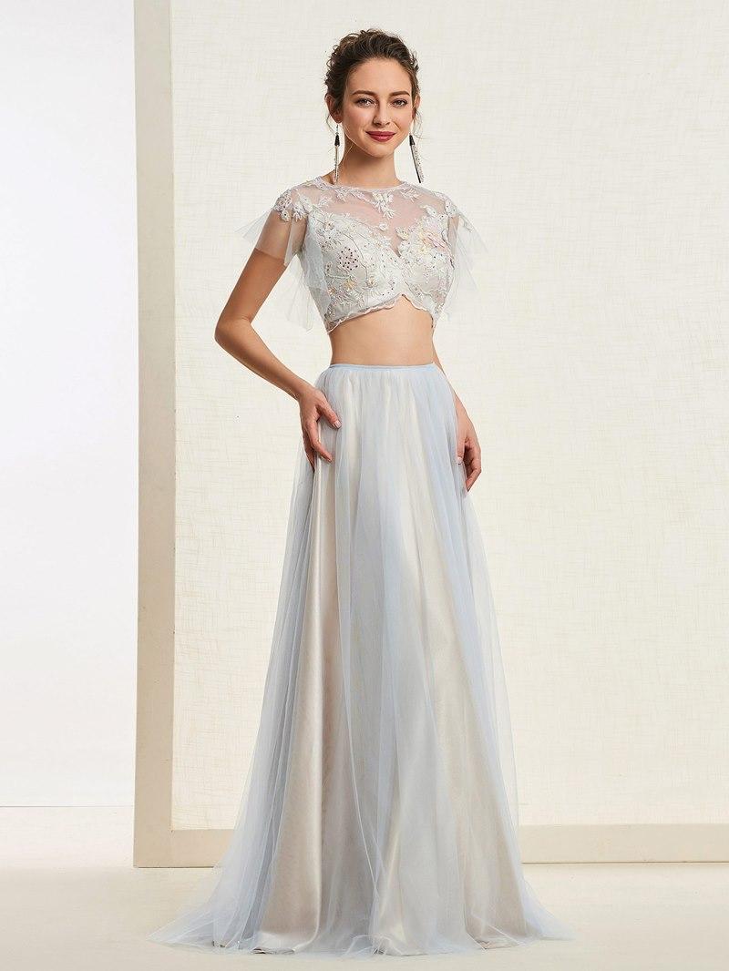 Ericdress A-Line Short Sleeves Long Prom Dress