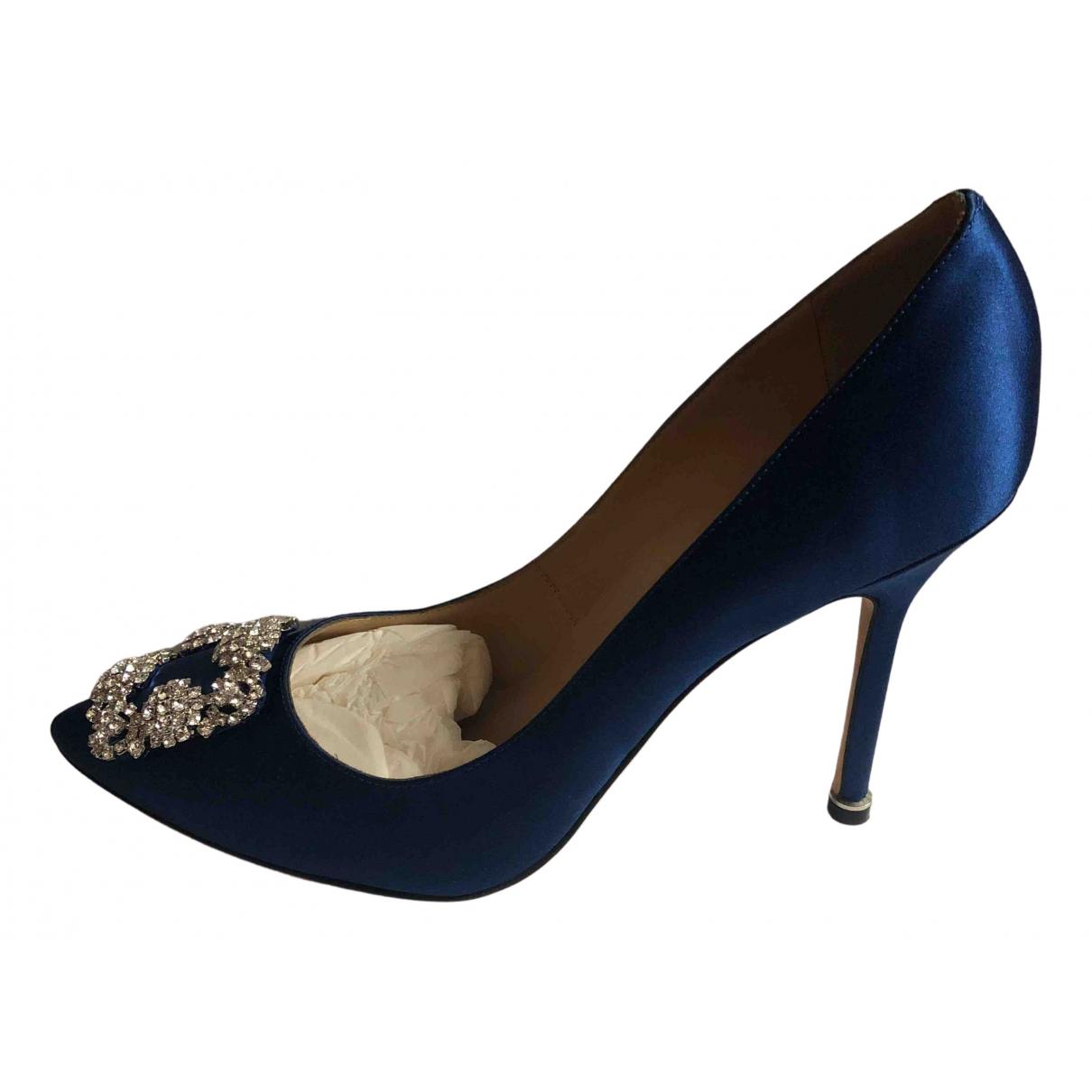 Manolo Blahnik - Escarpins Hangisi pour femme en toile - bleu