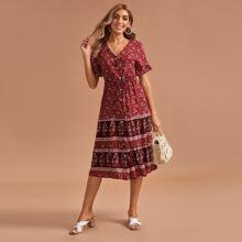 Kleid mit Blumen & Stamm Muster und Knoten