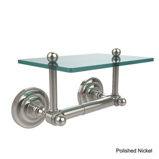 Allied Brass Que New Two Post Toilet Tissue Holder with Glass Shelf (Polished/Nickel Finish)