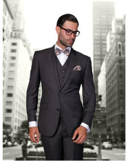 Statement Men's Heather Charcoal 2 Button Modern Fit Wool Suit