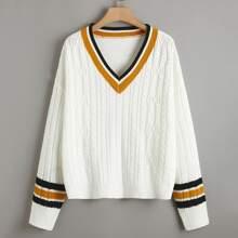 Plus Striped Trim Drop Shoulder Cable Knit Sweater