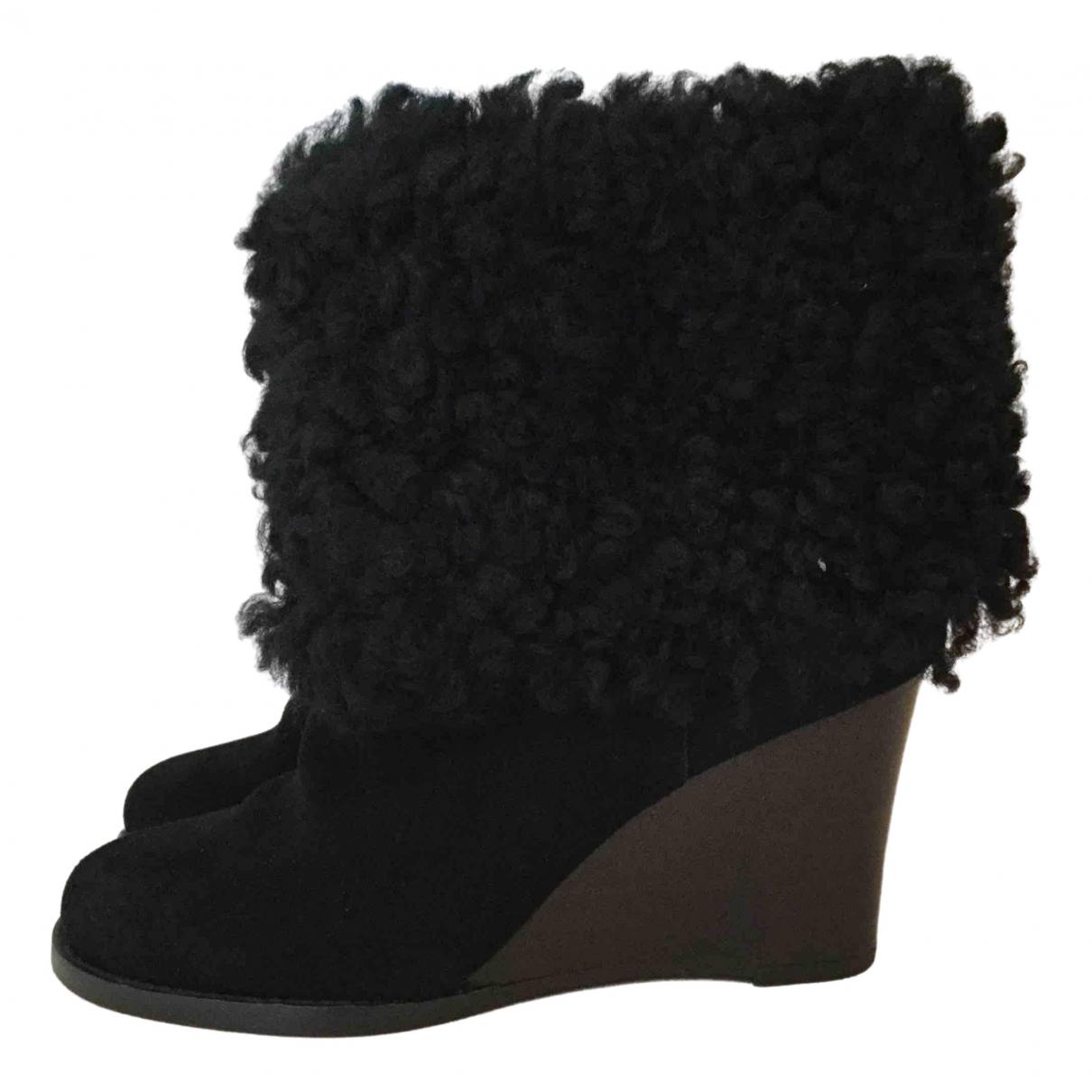 Essentiel Antwerp - Boots   pour femme en suede - noir