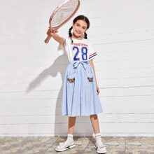 Girls Striped Cuff Letter Graphic Top & Patched Pocket Skirt Set