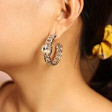Rhinestone Decor Chain Hoop Earrings