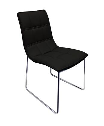 Leandro Collection CB-870-BL Dining Chair with Mid High Backrest  Chrome Metal Sled Base  Modern Style and Eco-Leather Upholstery in Black