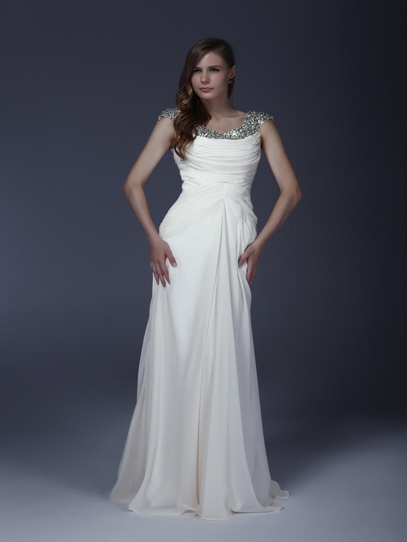 Delicated Beaded/Squins Column Scoop Floor-Length Mother of the Bride Dress