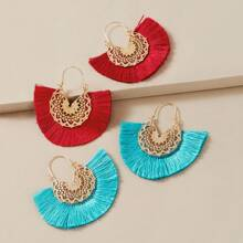 2pairs Hollow Out Flower Pattern Fringe Drop Earrings