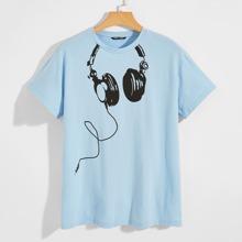 Men Headset Print Tee