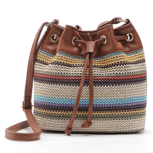 Women PU Leather Bohemian Wavy Striped Bucket Bag String Crossbody Bag