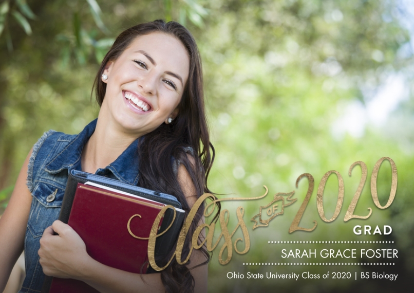 2020 Graduation Announcements 5x7 Cards, Premium Cardstock 120lb with Rounded Corners, Card & Stationery -2020 Class of Banner by Tumbalina
