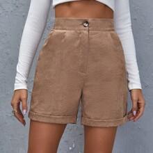 Knopfe  Einfarbig Laessig Shorts