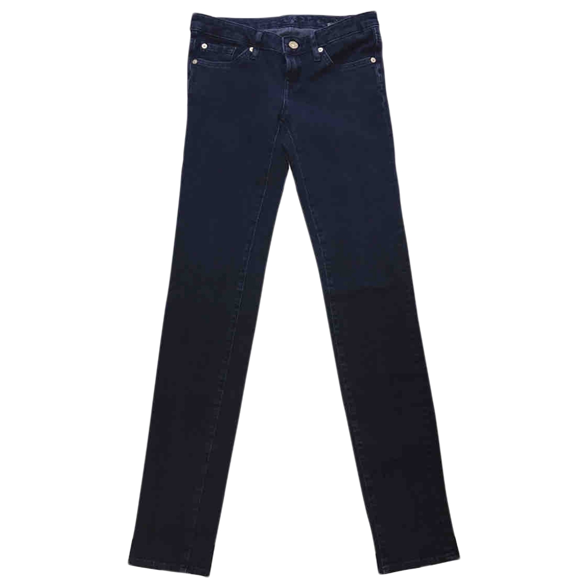 7 For All Mankind \N Navy Cotton - elasthane Jeans for Women 26 US