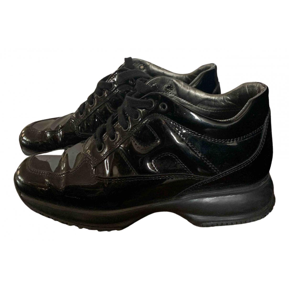 Hogan - Baskets   pour femme en cuir verni - noir