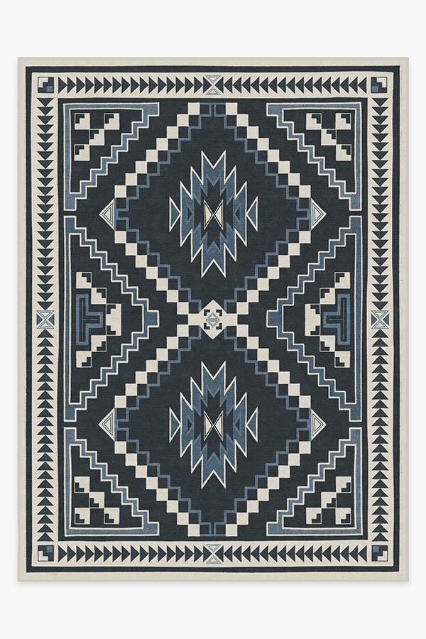 Washable Rug Cover & Pad | Dakotah Ivory Blue Rug | Stain-Resistant | Ruggable | 9'x12'