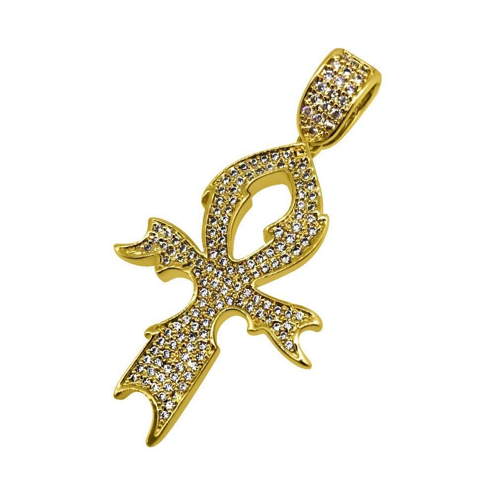 Stylish Ankh Cross CZ Gold Bling Bling Pendant