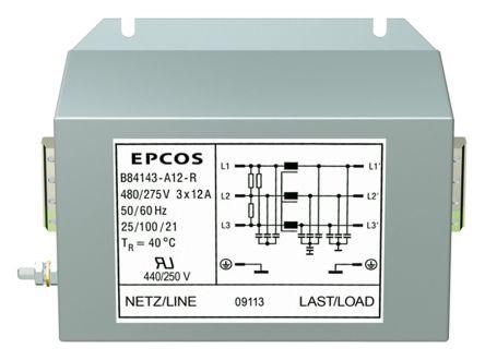 EPCOS , B84143A*R000 120A 480 V ac 50 → 60Hz, Flange Mount RFI Filter, Screw 3 Phase