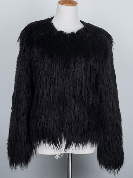 Milanoo Abrigos de piel sintetica para mujer Manga larga Casual Cuello joya Abrigo de invierno blanco