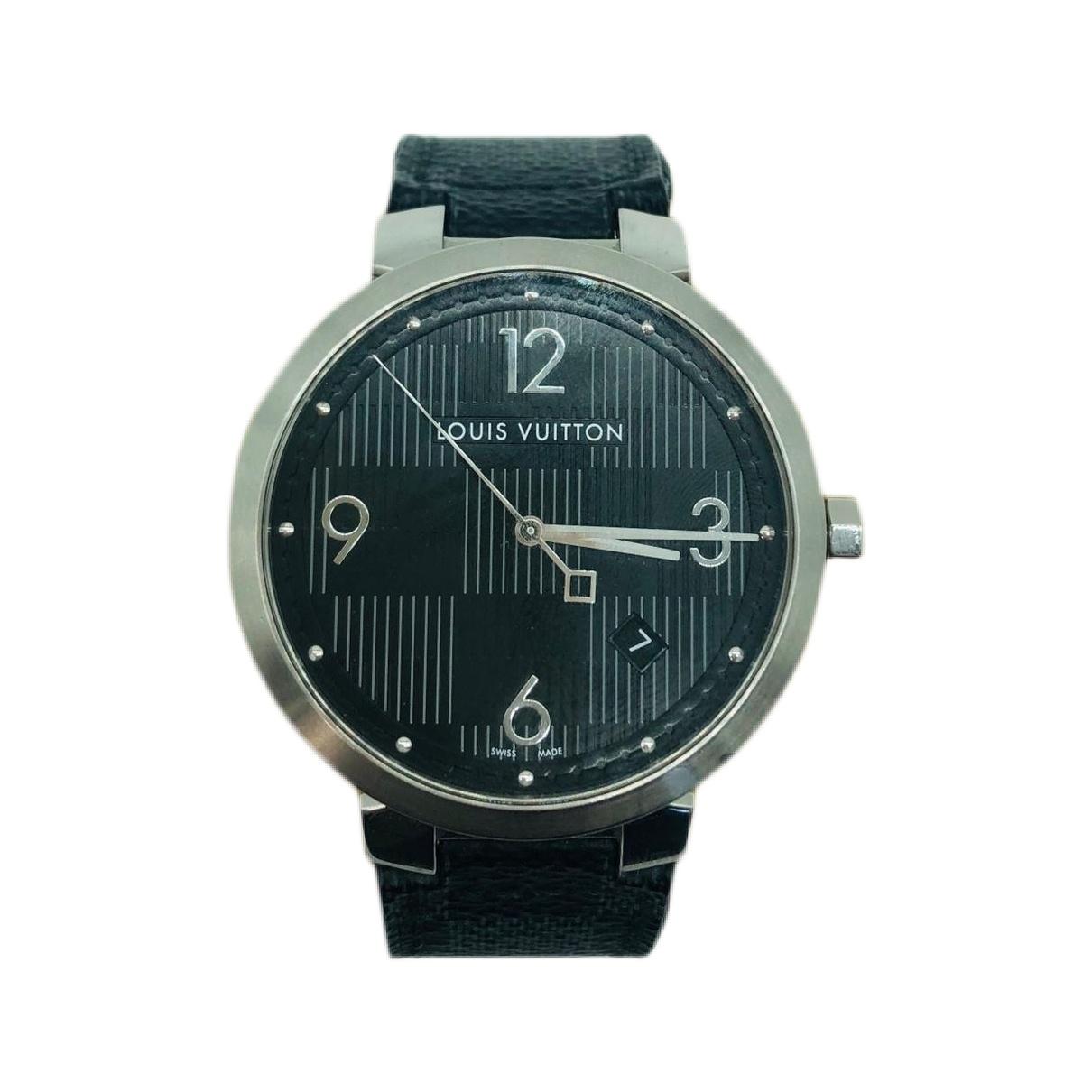 Louis Vuitton Tambour Uhr in  Schwarz Stahl