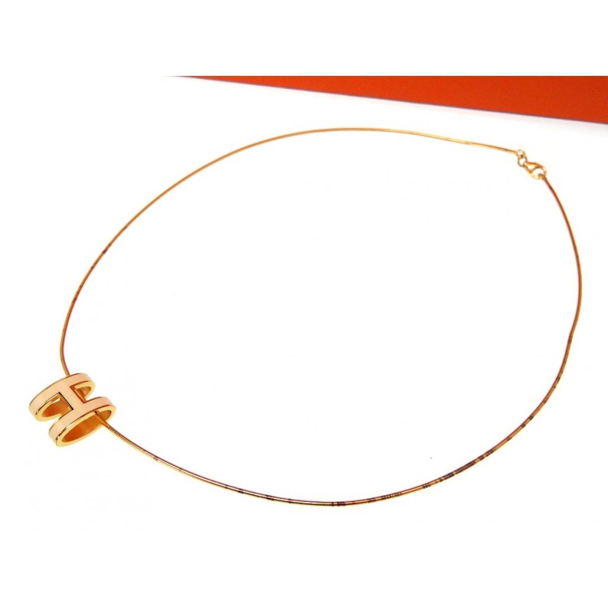 Hermes - Collier Pop H pour femme en plaque or - dore