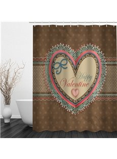 3D Heart-Shape and Happy Valentine Polyester Waterproof and Eco-friendly Shower Curtain