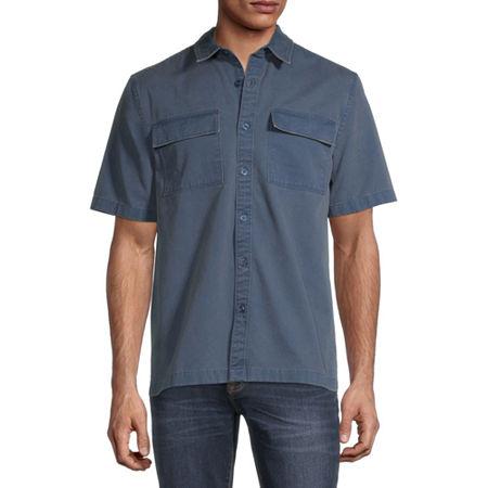 Arizona Mens Short Sleeve Button-Down Shirt, Small , Blue