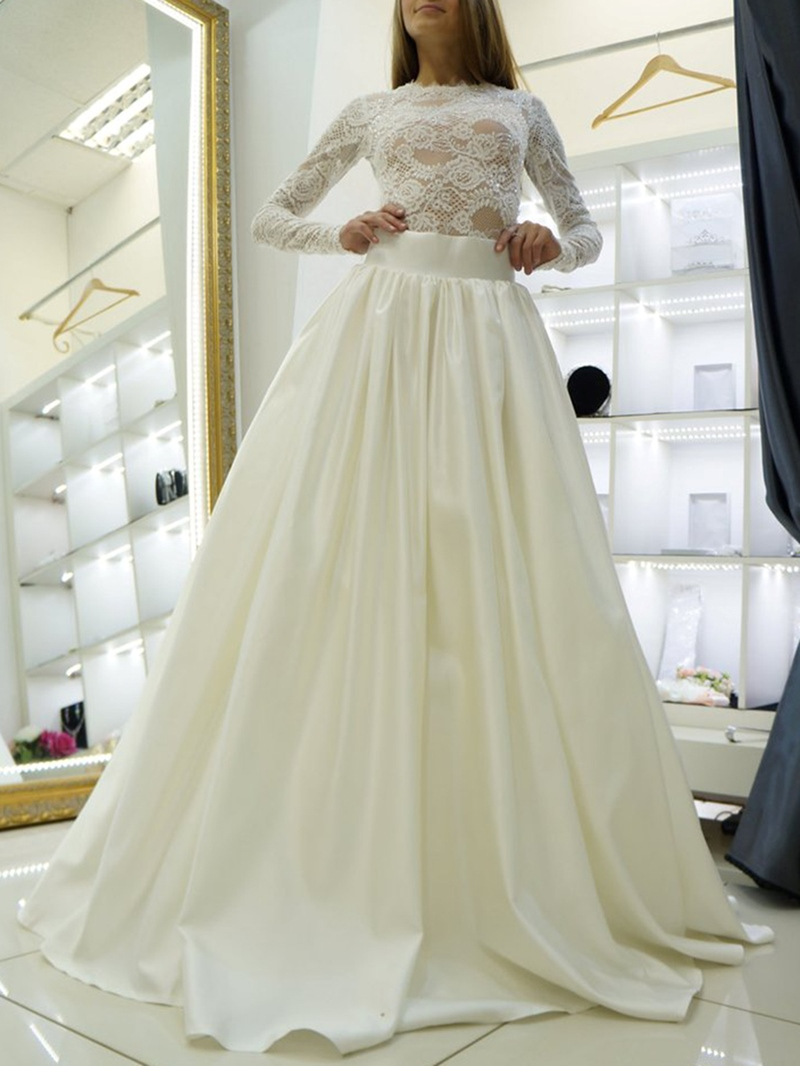 Ericdress Jewel Neck Lace Long Sleeve Wedding Dress